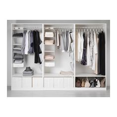 This is my favourite in terms of layout inside the wardrobe. Shoes at the bottom and plenty of room for hanging clothes. Draws elsewhere in the room so no need inside the wardrobe!