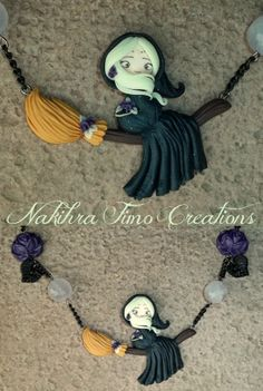 Handmade Moon Witch Polymer Clay