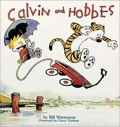 Calvin and Hobbes. This is the first collection of the popular comic strip that features Calvin, a rambunctious boy, and his stuffed tiger, Hobbes, who comes charmingly to life. Calvin Y Hobbes, Calvin And Hobbes Books, Gary Larson, Book Club Books, Books To Read, My Books, Classic Comics, Comics Online, Play