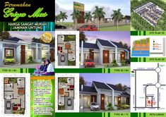 Desain Rumah Minimalis Perumahan Griya Mas Sidoarjo - Brosur Minimalist House Design, Small House Design, Minimalist Home, Modern House Floor Plans, House Plans, Plan 2d, Surabaya, Facade, Gazebo