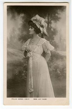 c 1907 British Theater Beauty PRETTY LILY ELSIE Fashion Edwardian photo pcard