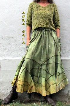 AuraGaia Mossy Tree Dryad OverDyed UpCyCLeD Serger Madness SKIRT XS-2X