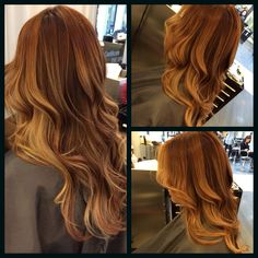 Ombre done with copper browns and butter blondes by Wanda Mora