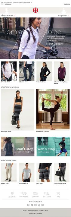 Lululemon email design