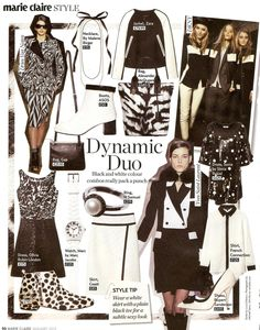Dynamic Duo Black & White Monochrome Trend Board for Marie Claire Magazine featuring Yves Saint Laurent, DKNY & Dries Van Noten. Styled by Lucia Debieux