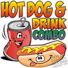 "28"" Hot Dog & Drink Combo Cartoon Restaurant Food Concession Trailer Sign Decal Concession Stand Food, Concession Trailer, Food Trailer, Snow Cone Stand, Hot Dog Cart, Hot Dog Stand, Chili Cook Off, Dog Signs, Bake Sale"