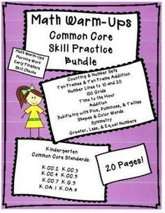 This versatile twenty page set is perfect for morning work, skill checks, RtI, and early finishers. Each page incorporates common core math concepts for practice and reinforcement. Skills include ten frames, addition, number lines, 100 grids, time to the hour, subitizing, shapes, color words, symmetry, and more.