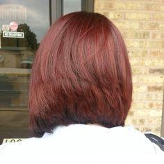 Red hair/ Stack Haircut