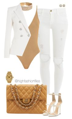 """Untitled #2645"" by highfashionfiles ❤ liked on Polyvore featuring Frame, Balmain, Chanel, Rolex and Hoorsenbuhs"