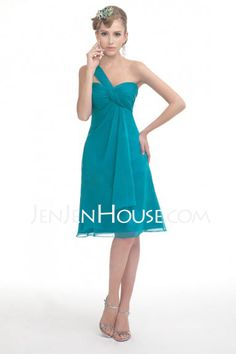 Bridesmaid Dresses - $89.99 - A-Line/Princess Sweetheart Knee-Length Chiffon  Satin Bridesmaid Dresses With Ruffle (007004081) http://jenjenhouse.com/A-line-Princess-Sweetheart-Knee-length-Chiffon--Satin-Bridesmaid-Dresses-With-Ruffle-007004081-g4081