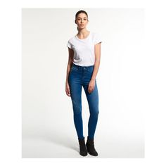 Superdry Sophia High Waist Super Skinny Jeans ($55) ❤ liked on Polyvore featuring plus size women's fashion, plus size clothing, plus size jeans, blue, high rise skinny jeans, blue jeans, white jeans, zipper skinny jeans and super high-waisted skinny jeans