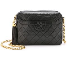 Pre-owned What Goes Around Comes Around Chanel Camera Bag (450870 ALL) ❤ liked on Polyvore featuring bags, handbags, black, leather handbags, man bag, leather hand bags, real leather purses and vintage leather purses