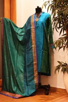 Stunning Sea Green Embroidered Pita Work Raw Silk Party Wear ...
