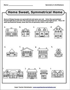 Symmetry practice doesn't have to be limited to basic shapes! Now students can practice symmetry concepts with these symmetrical (or not!) houses!