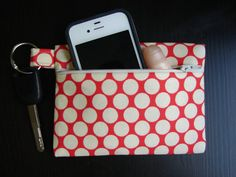 Keychain Wallet in Red and Cream Polka Dot by stitch248 on Etsy, $12.00. I think we could make in class