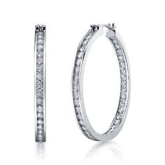 Diamonvita™ 2 1/4ct TW Hoop Earrings available at #HelzbergDiamonds