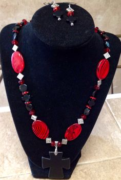 Love this one! Red, Black & Silver w/Black Cross. Has matching earrings and bracelet. $60/set
