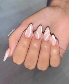 Acrylic Nails Coffin Short, Simple Acrylic Nails, Almond Acrylic Nails, Best Acrylic Nails, Acrylic Nail Designs, Baby Pink Nails Acrylic, Long Almond Nails, Silver Nail Designs, Nail Tip Designs