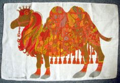 Vintage 1970s Oxfam Tea Towel Psychedelic Orange and Red Camel by Belinda Lyon | eBay