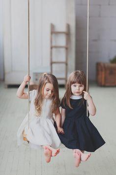Kleider - White linen dress for girls, Kids Clothing - ein Designerstück von aveledeizi bei DaWanda