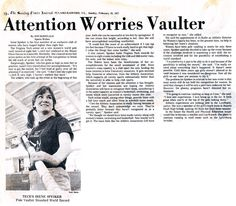 """World-record pole vaulter (1977): Irene Spieker (health and physical education '78) was the first woman in the world to pole vault higher than 8 feet, setting an unofficial world record at 8' 1/4"""" during the indoor Mason Dixon Games in Louisville, Kentucky, in 1977. Spieker, Tech's premier female runner with school records in the indoor and outdoor mile, 1,500 meters, and 3,000 meters, broke the national record five times and cleared 10 feet in the 1979 Mason Dixon Games."""