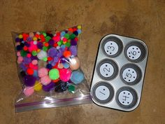 Pom Pom and Muffin Tray NumberSort – Mud Hut Mama - Home Schooling İdeas Preschool Lesson Plans, Preschool At Home, Preschool Curriculum, Preschool Classroom, Preschool Learning, Math Activities, Fun Learning, Toddler Activities, Preschool Activities