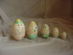 Vintage Wooden Rabbit Nesting Dolls by Enesco Russian Style Set of 5 As-Is