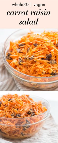 This Whole30 carrot raisin salad is lightly and naturally sweetened, creamy, and full of tender carrots and plump raisins. The perfect make-ahead side dish for easy lunches, picnics, or dinners, you'll love this recipe all of spring and summer! This Whole30 carrot raisin salad is also paleo and vegan, making it a healthy way to get more raw carrots (and flavor!) in your diet. #whole30 #whole30recipes #paleo #paleorecipes #vegan #veganrecipes