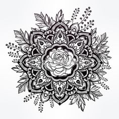 Hand drawn ornate rose flower with leaf crown. — Ilustración de stock #90422960