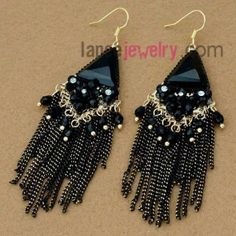Unique zinc alloy earrings decorated with chian & rhinestone