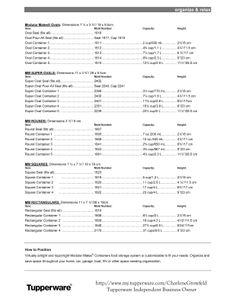 bpa free kitchen: Free Tupperware® Modular Mates® Storage Charts ...