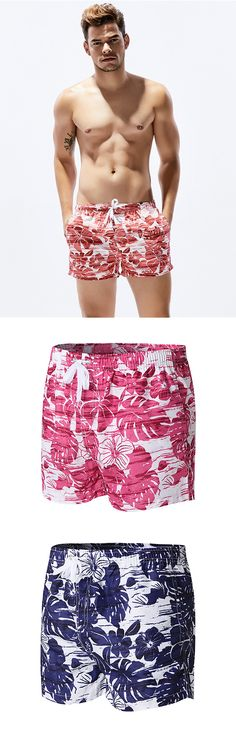 cb2e2d5b62 Hawaiian Summer Sport Casual Flower Printing Drawstring Trunk Beach Short  for Men. Fulv Fattore · Swim Fashion
