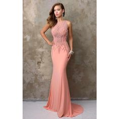 Nina Canacci 2101 Evening Dress Long High Neckline Sleeveless ($398) ❤ liked on Polyvore featuring dresses, formal dresses, peach, long gowns, prom dresses, mermaid gown, long formal evening dresses and long formal dresses