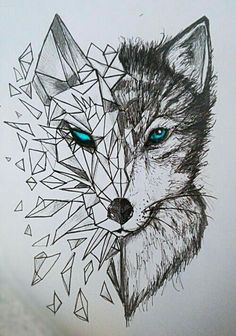 Discover thousands of images about nice Geometric Tattoo - geometric wolf tattoos: Yandex. Animal Drawings, Cool Drawings, Drawing Sketches, Beautiful Drawings, Drawing Animals, Drawing Stuff, Sketch Art, Pencil Drawings, Drawing Ideas