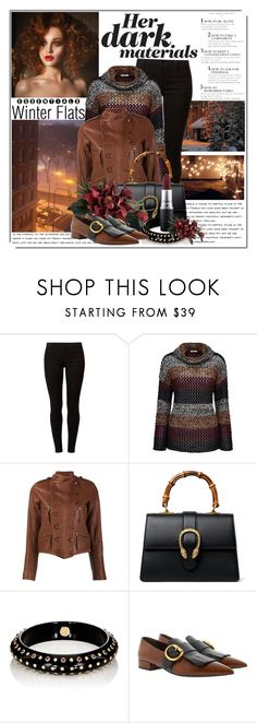 """""""Her Dark Materials"""" by queenrachietemplateaddict ❤ liked on Polyvore featuring Dorothy Perkins, Joe Browns, Faith Connexion, Gucci, Mark Davis, Prada, MAC Cosmetics, Winter, Sweater and leatherjacket"""