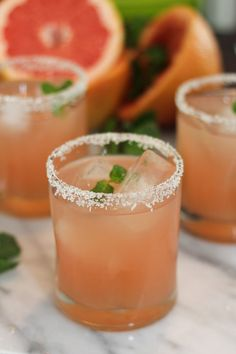 Vanilla Grapefruit Margaritas With A Vanilla Salt Rim