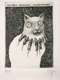 Stasys Eidrigevicius - Ex Libris Wiesławy Wierzchowskiej, akwaforta… Ex Libris, Art And Illustration, Cat Mouse, Oil Painting Reproductions, Wood Engraving, Cat Art, Oeuvre D'art, Art Gallery, Artsy