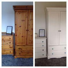 Beautiful vintage shabby chic painted oak desk bureau f b for Bedroom bureau knobs