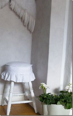 Round Stoll Cover Idea for DIY Whitewashed Cottage chippy shabby chic french country rustic swedish decor idea.. ***Pinned by oldattic ***.