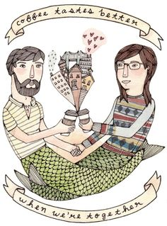 #illustration #coffee #couple #love