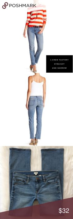 J.Crew Factory • Straight and Narrow Jean DETAILS // Great weekend jeans! Featuring realistic, soft fading and stretch that hugs all the right places. Sits at hip, slightly relaxed through thigh, with a slim, narrow leg. Wear cuffed with booties or leave them down and wear with heels.   Gently Used, Minimal Signs of Wear (slightly stretched in front) Good Overall Condition  SIZE 26X31 WASH // Davidson MATERIALS // 87% Cotton, 12% Polyester, 1% Elastane STYLE #F0105  MEASUREMENTS // Flat…