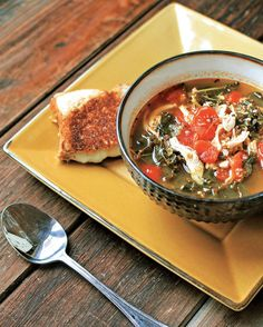 This Hearty Tuscan Kale Soup with Provolone Grilled Cheese is perfect on a chilly day.