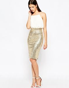 Club L Cami Midi Dress with Sequin Skirt