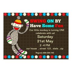 Colorful Sock Monkey Birthday invitation