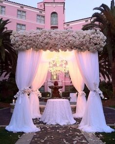 Stunning #canopy #chuppah with a beautiful chandelier light for a glowing touch!: #weddingwire