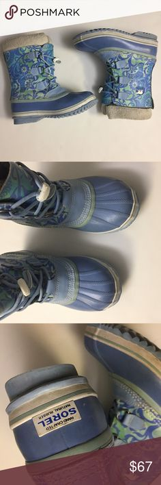 Sorel PAC blue Alaska snow Floral print rare boots Sorel PAC blue Alaska snow Floral print rare boots. Waterproof. Genuine leather rubber material. Perfect for rain or snow days. Previously owned and loved. In excellent condition. Some scuffs but no major flaws. See pictures for details. Size is 5. Fits like 5-6 sizes. Sorel Shoes Winter & Rain Boots