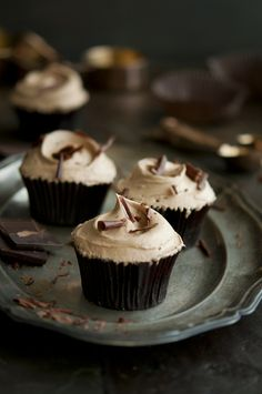 Real Chocolate Cupcakes with Chocolate Espresso Frosting