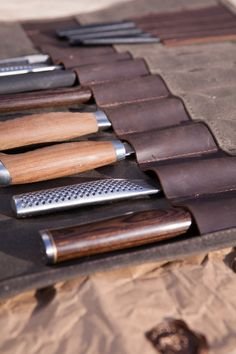 WAXED CANVAS AND LEATHER TRIM KNIFE ROLLS - DARK BROWN LEATHER