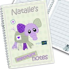 Personalised Cotton Zoo Notebook - Wynciette the Elephant  from Personalised Gifts Shop - ONLY £5.99
