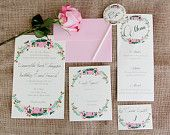 Pink Floral Foliage - Painted Wedding Invitation Suite